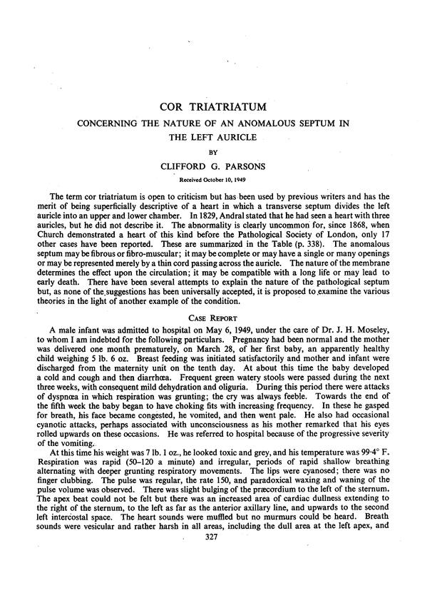 COR TRIATRIATUM CONCERNING THE NATURE OF AN ANOMALOUS SEPTUM IN THE ...