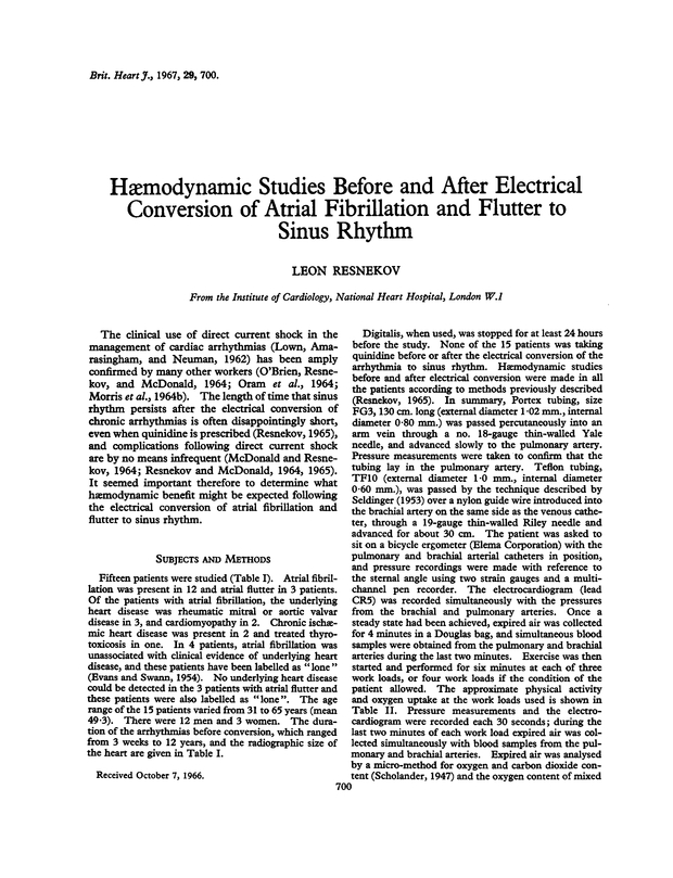 Haemodynamic studies before and after electrical conversion
